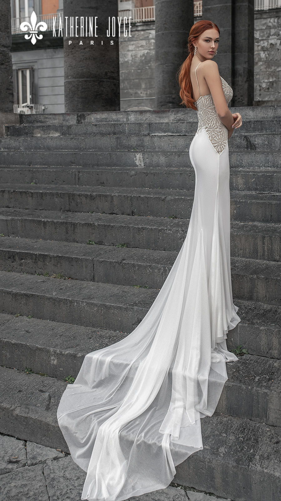 katherine joyce 2021 naples bridal sleeveless spaghetti strap diamond neck heavily embellished bodice elegant glamorous sheath wedding dress mid back chapel train (loretta) bv
