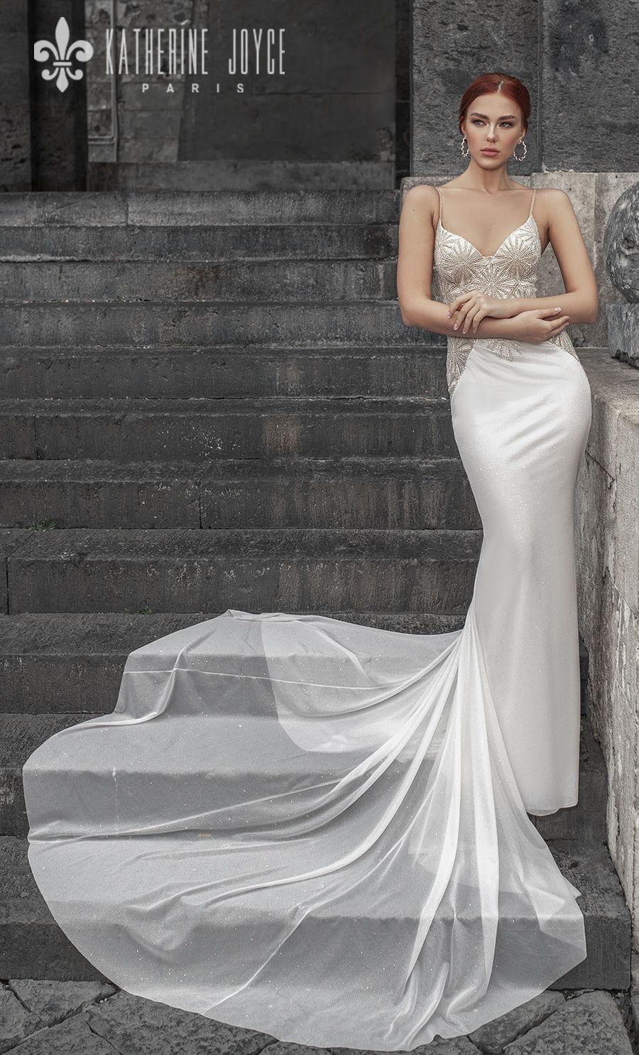 katherine joyce 2021 naples bridal sleeveless spaghetti strap diamond neck heavily embellished bodice elegant glamorous sheath wedding dress mid back chapel train (loretta) mv