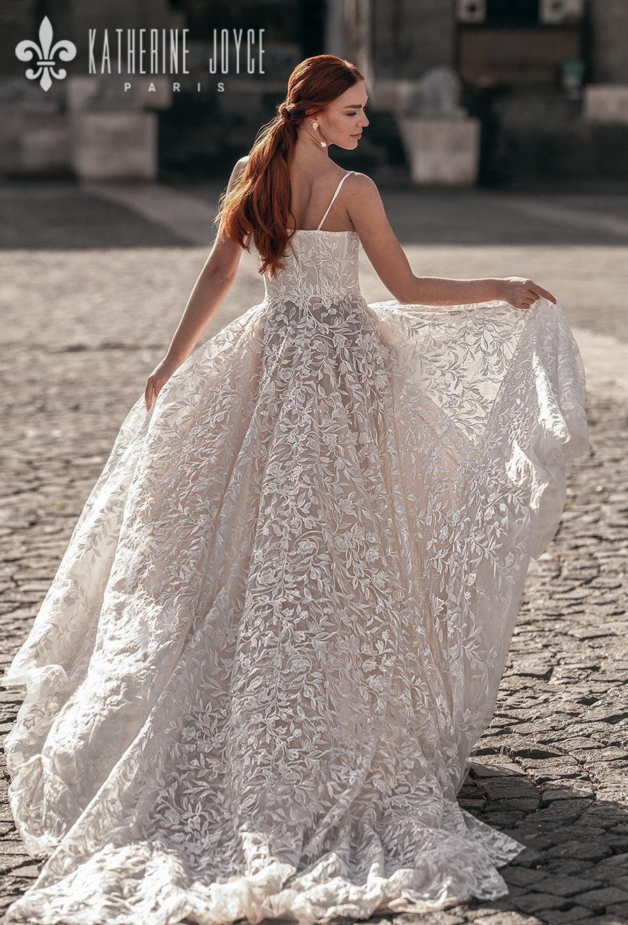 katherine joyce 2021 naples bridal sleeveless spaghetti strap square neckline full embellishment romantic soft a line wedding dress mid back chapel train (irena) bv