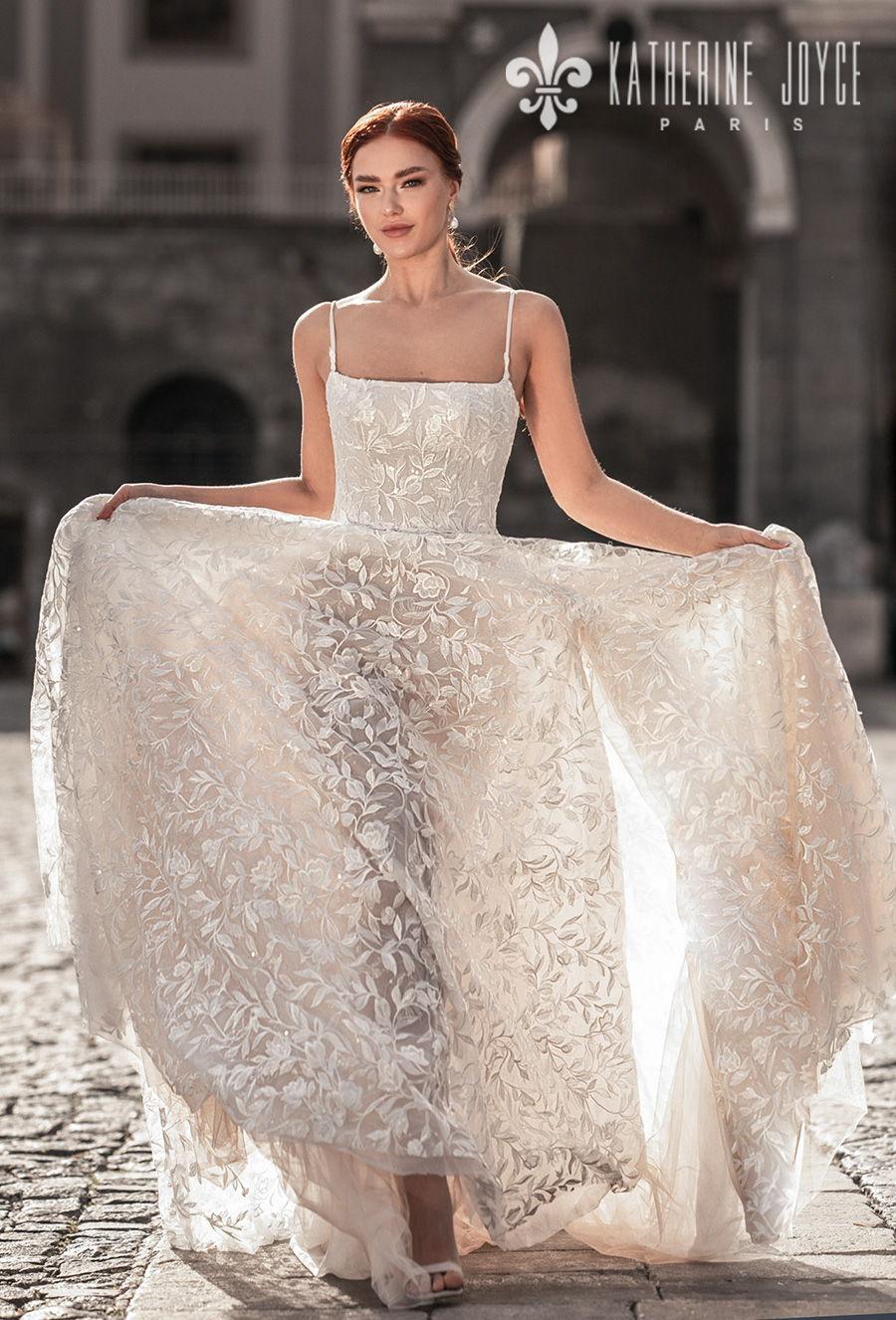 katherine joyce 2021 naples bridal sleeveless spaghetti strap square neckline full embellishment romantic soft a line wedding dress mid back chapel train (irena) mv