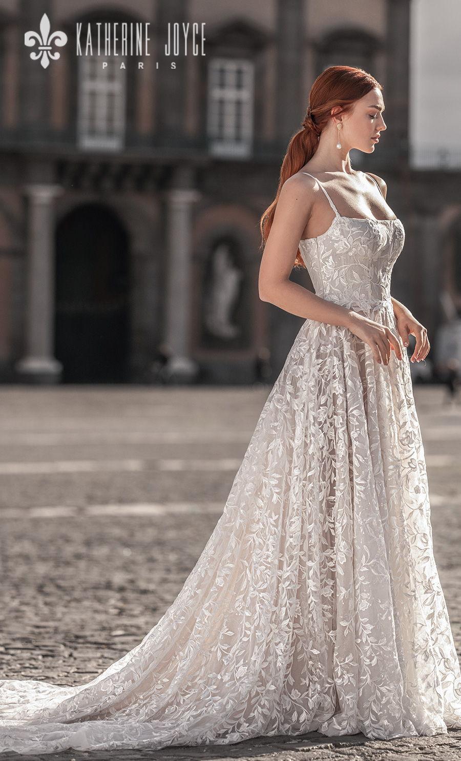 katherine joyce 2021 naples bridal sleeveless spaghetti strap square neckline full embellishment romantic soft a line wedding dress mid back chapel train (irena) sdv