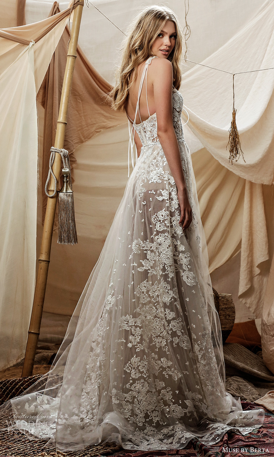 muse by berta spring 2021 bridal sleeveless double straps sweetheart neckline fully embellished lace a line ball gown wedding dress sheer skirt chapel train (15) bv