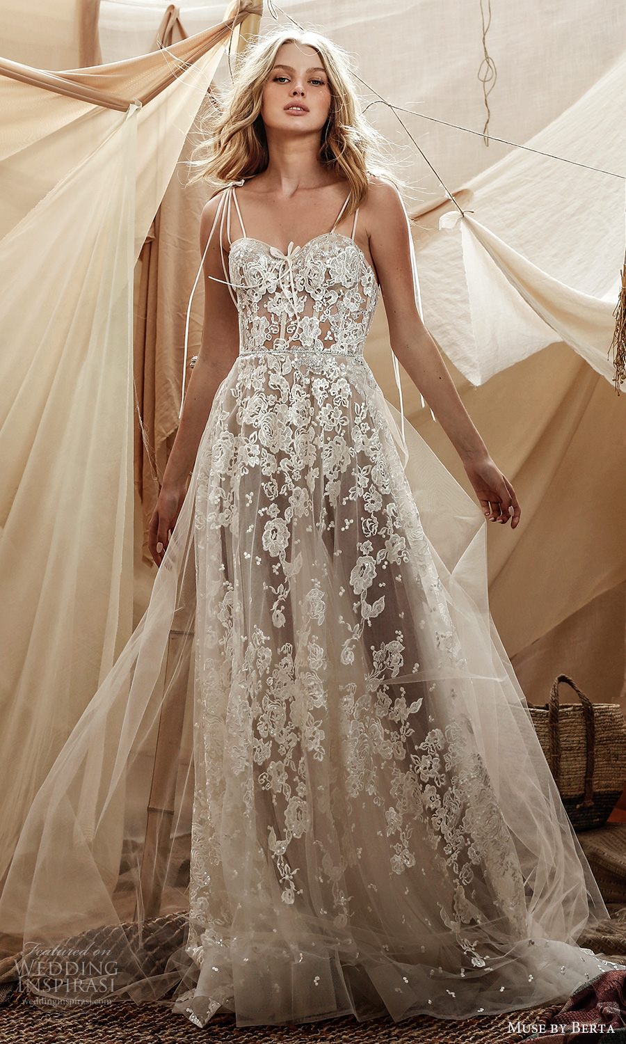 muse by berta spring 2021 bridal sleeveless double straps sweetheart neckline fully embellished lace a line ball gown wedding dress sheer skirt chapel train (15) mv