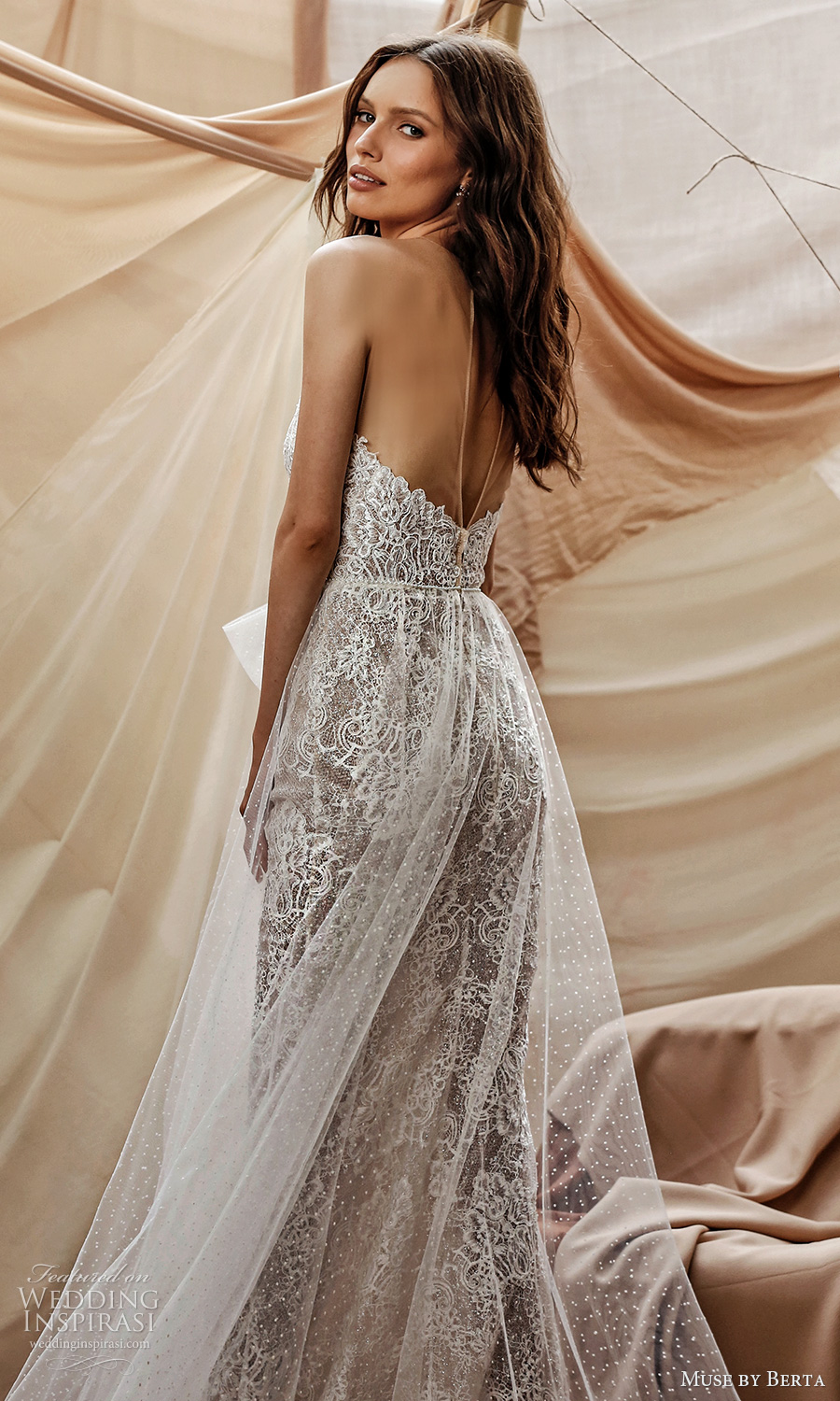 muse by berta spring 2021 bridal sleeveless illusion straps scallop sweetheart neckline fully embellished lace sheath wedding dress sheer a line overskirt chapel train (14) bv
