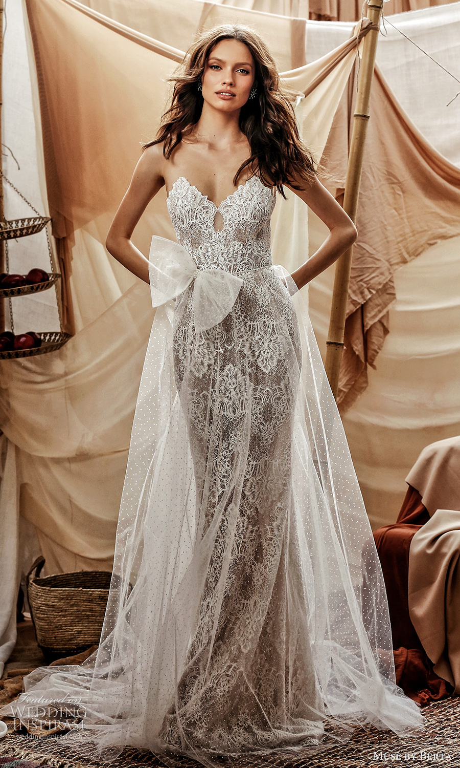 muse by berta spring 2021 bridal sleeveless illusion straps scallop sweetheart neckline fully embellished lace sheath wedding dress sheer a line overskirt chapel train (14) mv