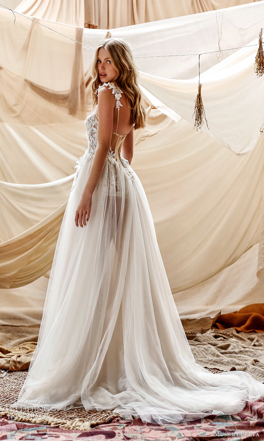muse by berta spring 2021 bridal sleeveless lace straps sweetheart neckline embllished sheer bodice a line ball gown wedding dress chapel train (7) bv