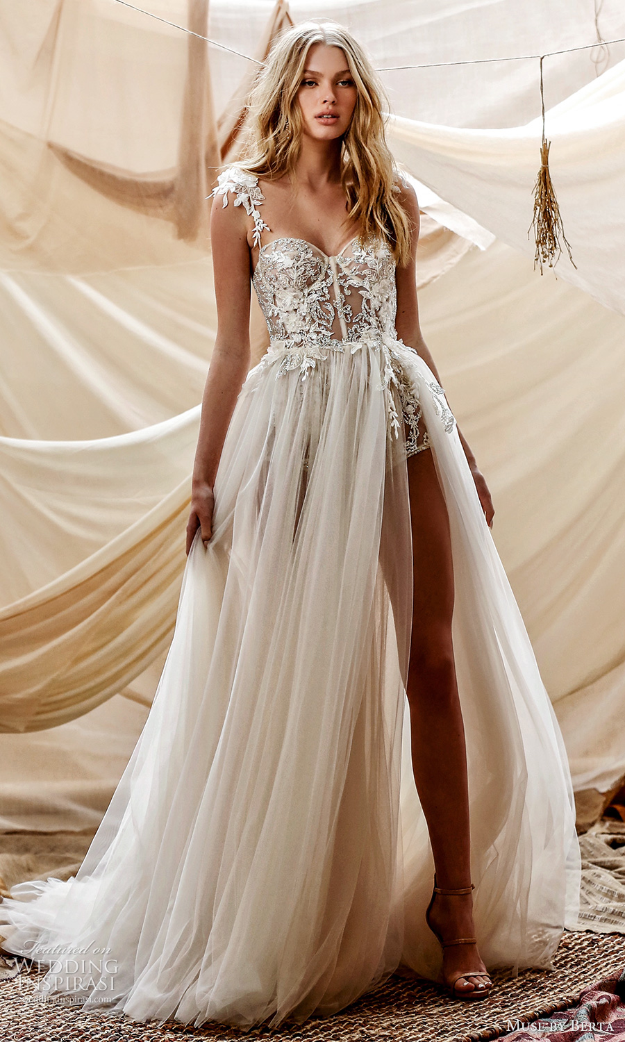 muse by berta spring 2021 bridal sleeveless lace straps sweetheart neckline embllished sheer bodice a line ball gown wedding dress chapel train (7) mv