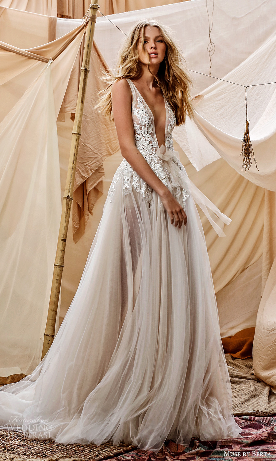 muse by berta spring 2021 bridal sleeveless straps plunging v neckling embellished lace bodice a line ball gown wedding dress chapel train (6) mv