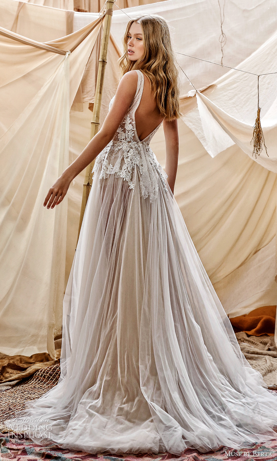 muse by berta spring 2021 bridal sleeveless straps plunging v neckling embellished lace bodice a line ball gown wedding dress chapel train v back (6) bv