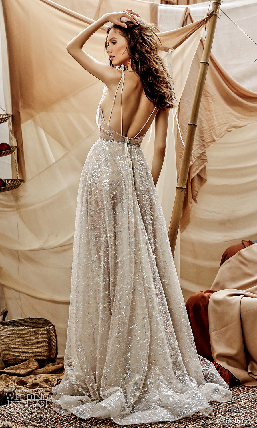muse by berta spring 2021 bridal sleeveless thin straps v neckline embellished a line ball gown wedding dress chapel train (13) bv