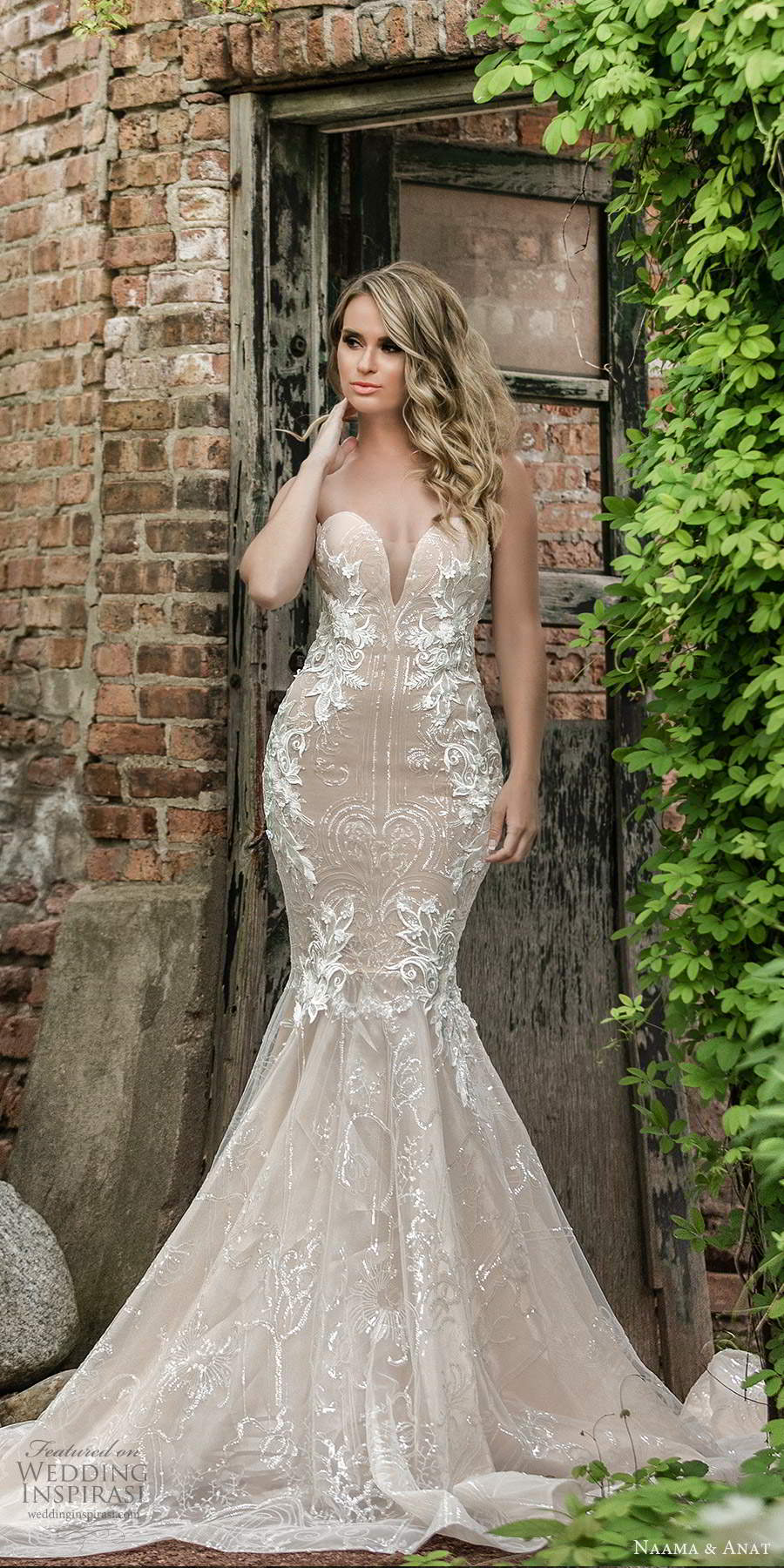 naama and anat 2021 bridal off shoulder sweetheart neckline fully embellished mermaid wedding dress a line ball gown overksirt oatmeal chapel train (4) mv