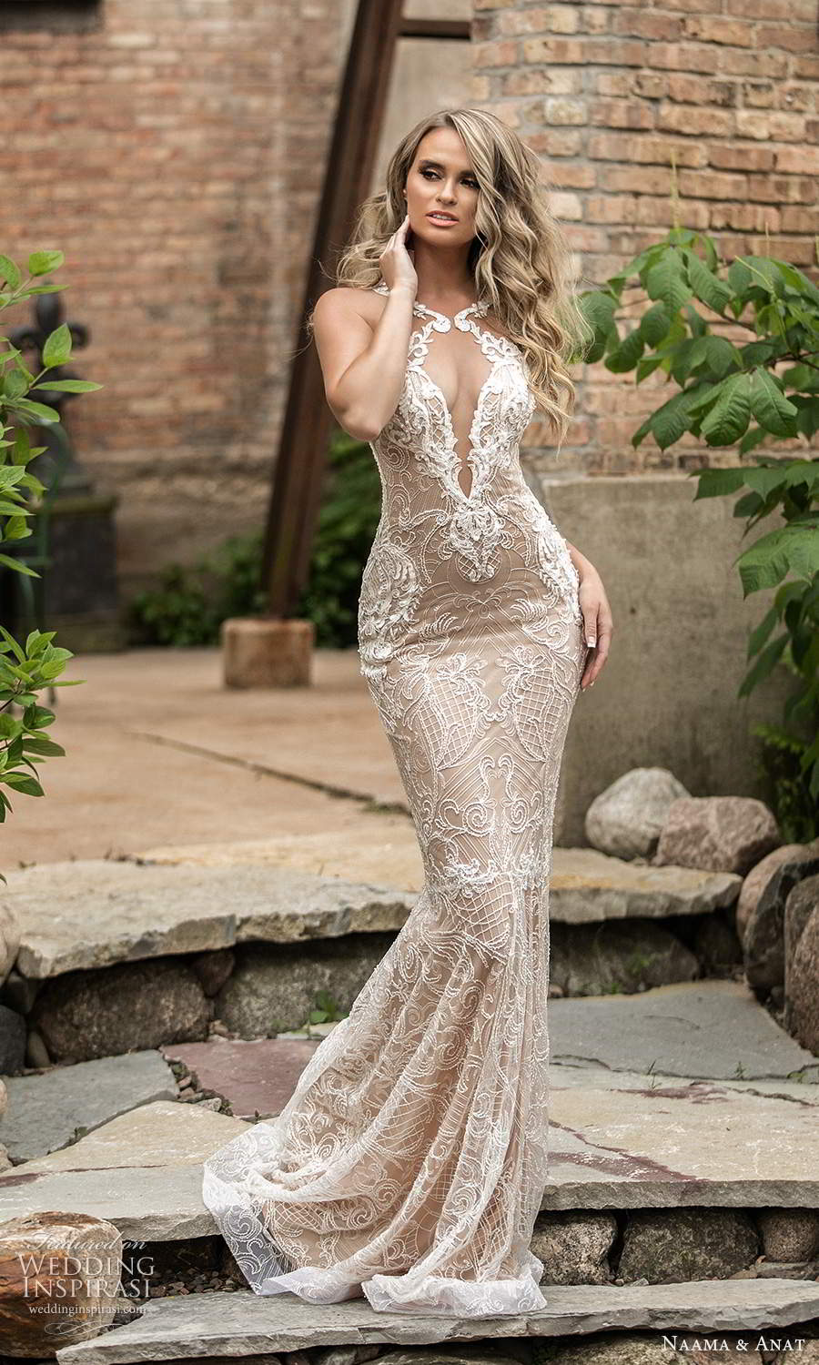 naama and anat 2021 bridal sleeveless halter neckline cutout bodice fully embellished lace sheath wedding dress chapel train (5) mv