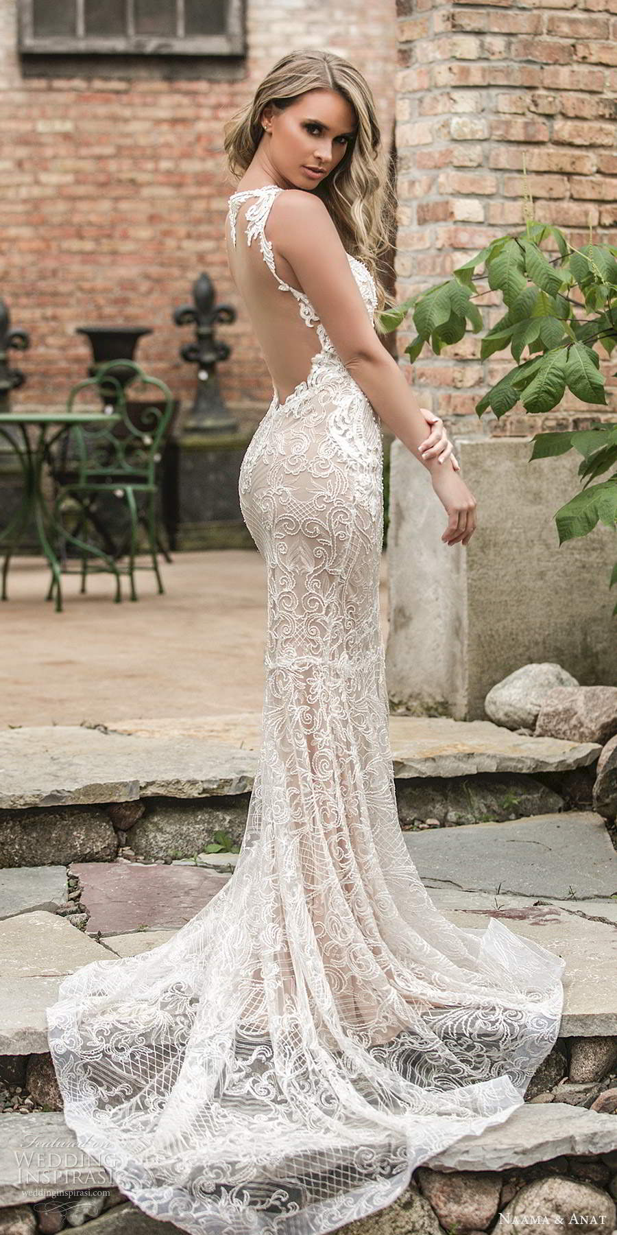 naama and anat 2021 bridal sleeveless halter neckline cutout bodice fully embellished lace sheath wedding dress illusion back chapel train (5) sv
