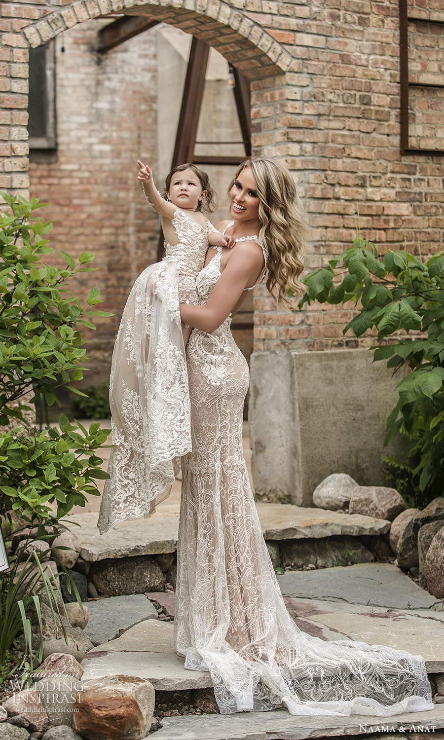 naama and anat 2021 bridal sleeveless halter neckline cutout bodice fully embellished lace sheath wedding dress illusion back chapel train baby (5) sv