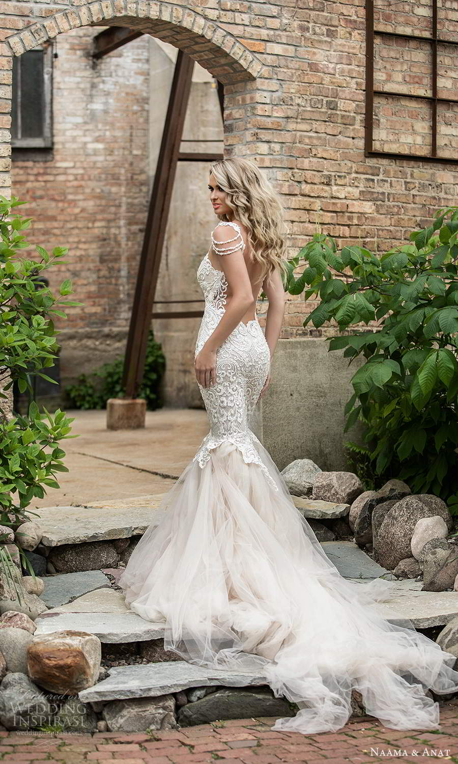 naama and anat 2021 bridal sleeveless straps sweetheart neckline fully embellished fit flare mermaid wedding dress chapel train blush (1) bv