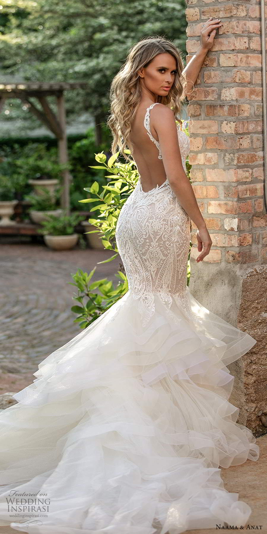 naama and anat 2021 bridal sleeveless straps sweetheart neckline fully embellished fit flare mermaid wedding dress chapel train illusion open back (2) bv