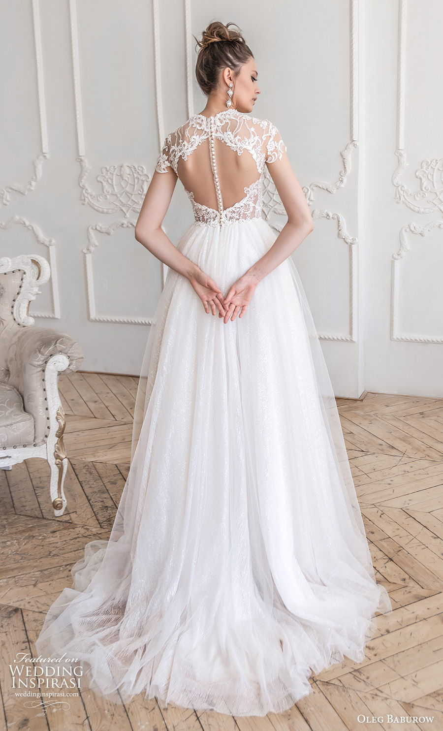 oleg baburow 2021 bridal cap sleeves illusion high neck sweetheart neckline heavily embellished bodice romantic soft a  line wedding dress keyhole sheer button back sweep train (13) bv