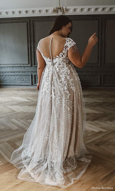 olivia bottega 2021 bridal plus cap sleeves v neckline fully embellished a line ball gown wedding dress chapel train (4) bv