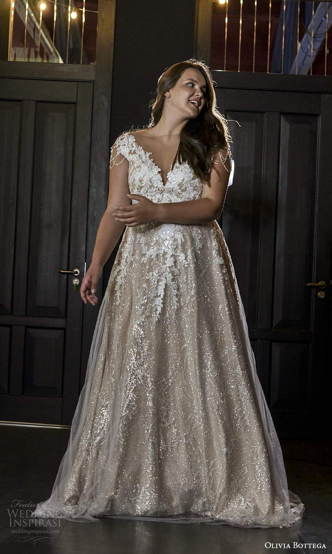 olivia bottega 2021 bridal plus cap sleeves v neckline fully embellished a line ball gown wedding dress chapel train (4) fv