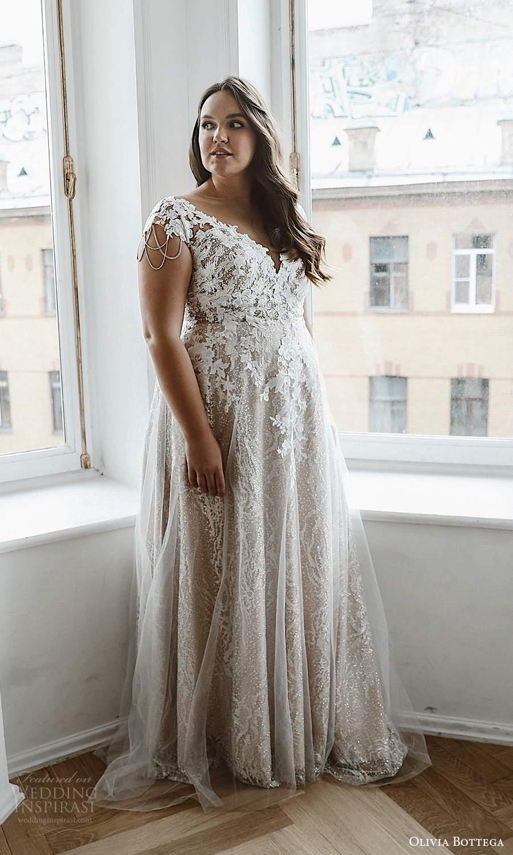 olivia bottega 2021 bridal plus cap sleeves v neckline fully embellished a line ball gown wedding dress chapel train (4) mv
