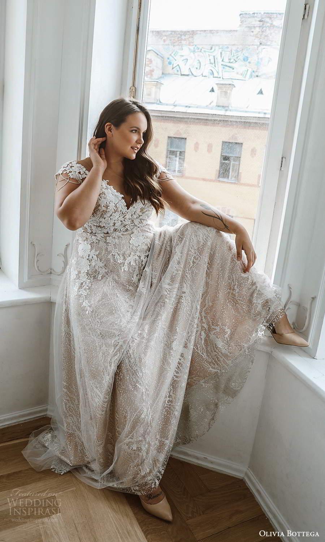 olivia bottega 2021 bridal plus cap sleeves v neckline fully embellished a line ball gown wedding dress chapel train (4) sv