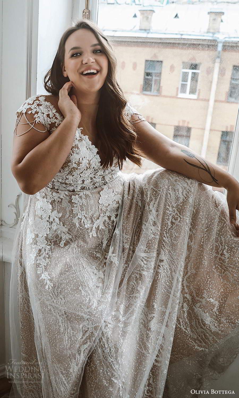 olivia bottega 2021 bridal plus cap sleeves v neckline fully embellished a line ball gown wedding dress chapel train (4) zv