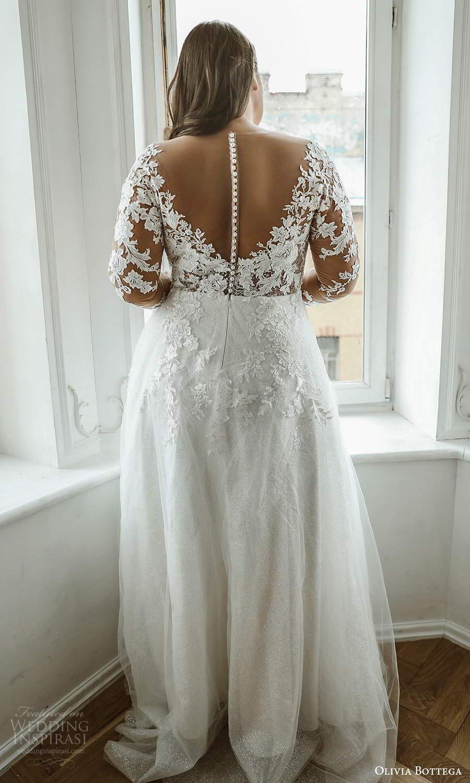 olivia bottega 2021 bridal plus illusion long sleeves plunging v neckline embellished lace bodice a line ball gown wedding dress sweep train (3) bv