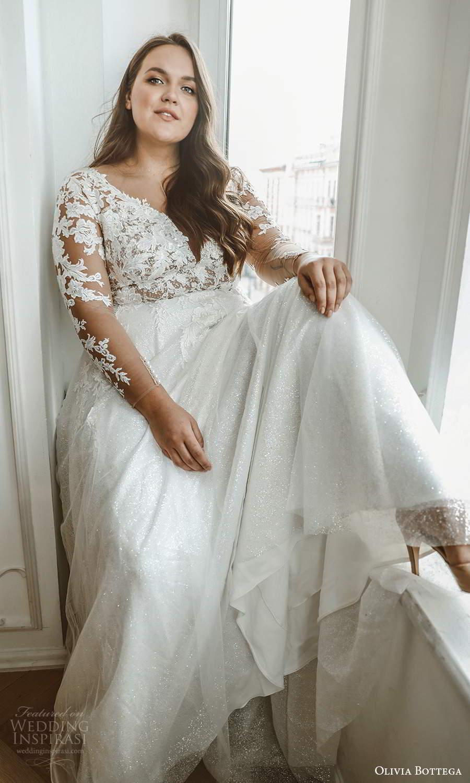 olivia bottega 2021 bridal plus illusion long sleeves plunging v neckline embellished lace bodice a line ball gown wedding dress sweep train (3) mv