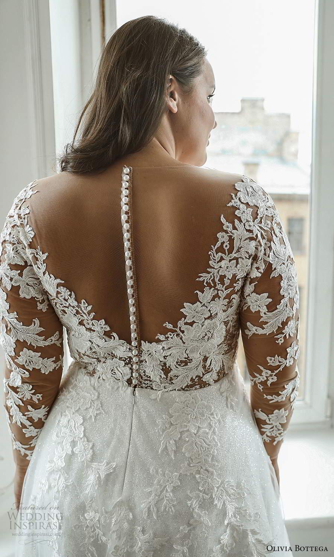 olivia bottega 2021 bridal plus illusion long sleeves plunging v neckline embellished lace bodice a line ball gown wedding dress sweep train (3) zbv