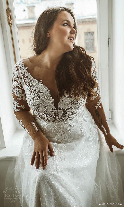 olivia bottega 2021 bridal plus illusion long sleeves plunging v neckline embellished lace bodice a line ball gown wedding dress sweep train (3) zv