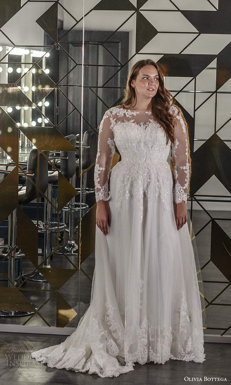 olivia bottega 2021 bridal plus illusion long sleeves sheer bateau neckline sweetheart heavily embellished bodice a line ball gown wedding dress chapel train (9) mv