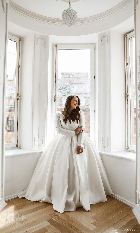 olivia bottega 2021 bridal plus long sleeves plunging v neckline clean minimalist a line ball gown wedding dress sweep train (1) fv