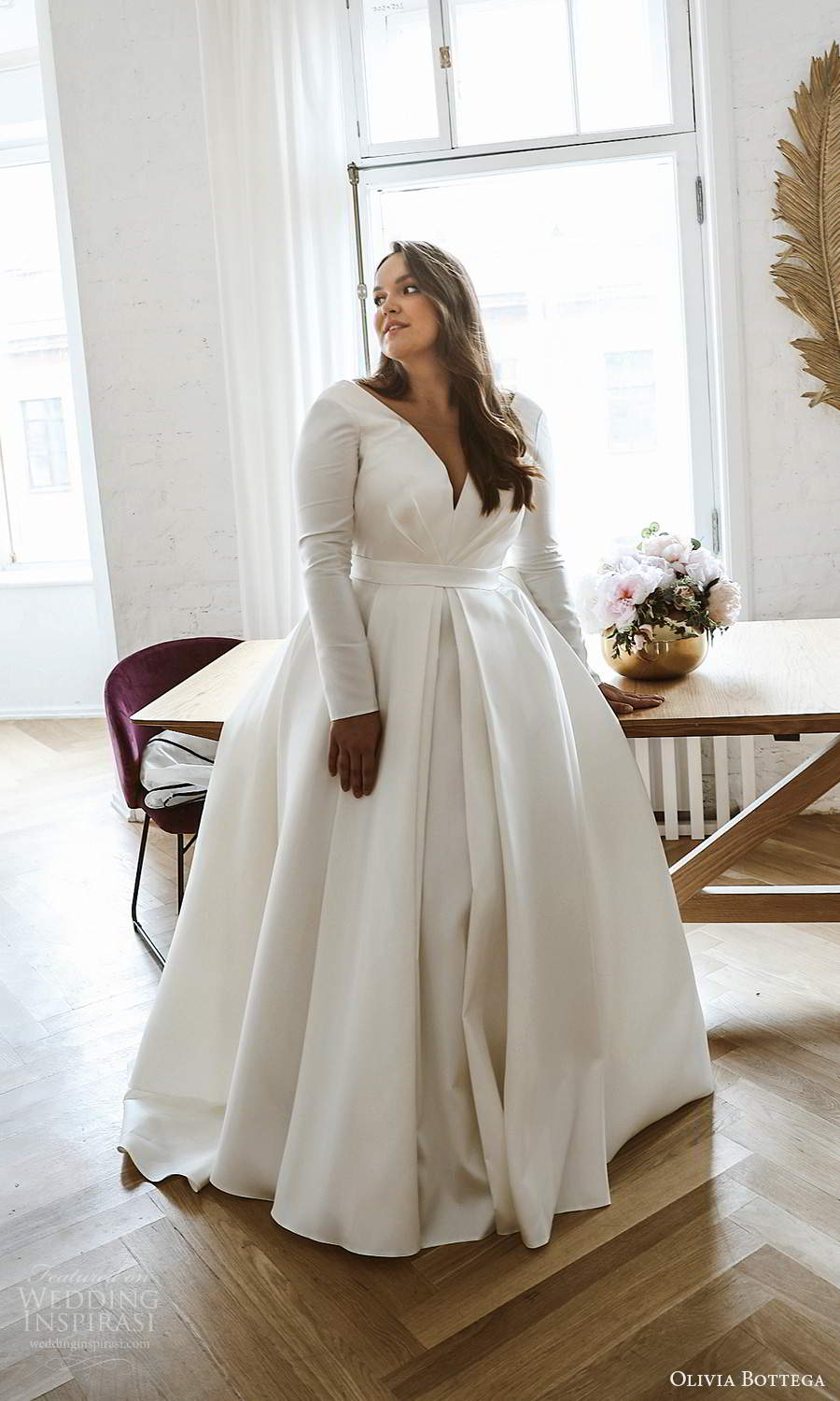 olivia bottega 2021 bridal plus long sleeves plunging v neckline clean minimalist a line ball gown wedding dress sweep train (1) mv
