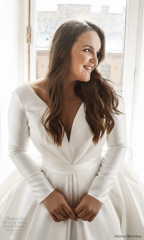 olivia bottega 2021 bridal plus long sleeves plunging v neckline clean minimalist a line ball gown wedding dress sweep train (1) zv