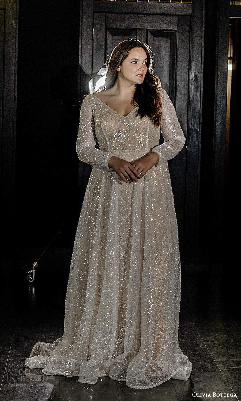 olivia bottega 2021 bridal plus long sleeves v neckline fully embellished a line ball gown wedding dress chapel train (8) mv