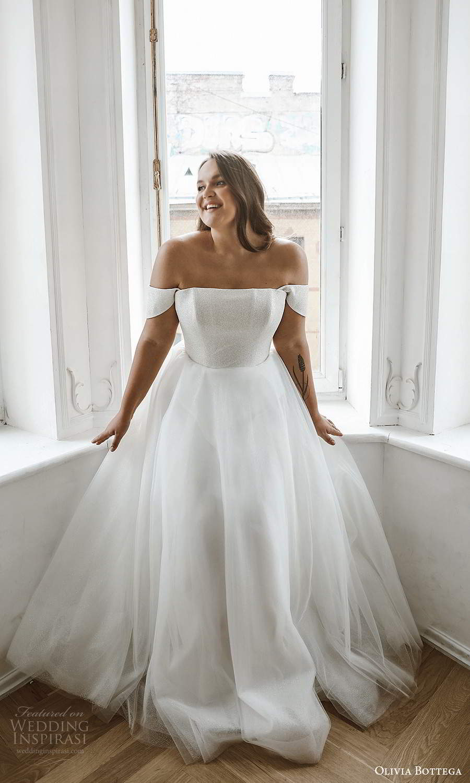 olivia bottega 2021 bridal plus off shoulder straps straight across neckline a line ball gown wedding dress (7) fv
