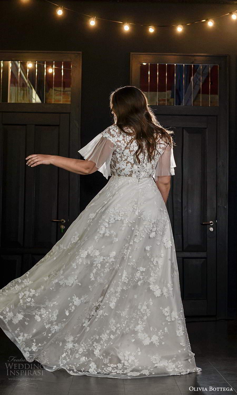 olivia bottega 2021 bridal plus sheer flutter sleeves illusion bateau neck sweetheart neckline fully embellished a line ball gown wedding dress sweep train (10) bv
