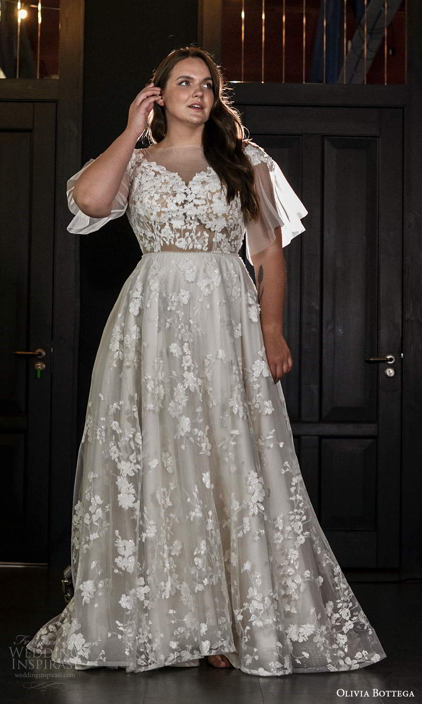olivia bottega 2021 bridal plus sheer flutter sleeves illusion bateau neck sweetheart neckline fully embellished a line ball gown wedding dress sweep train (10) mv