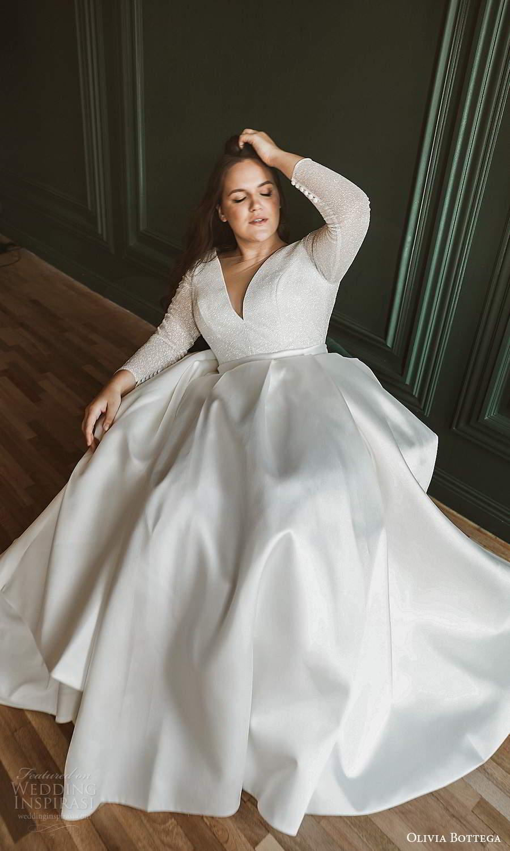 olivia bottega 2021 bridal plus sheer long sleeves v neckline embellished bodice clean skirt a line ball gown wedding dress (6) mv
