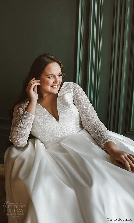 olivia bottega 2021 bridal plus sheer long sleeves v neckline embellished bodice clean skirt a line ball gown wedding dress (6) zv