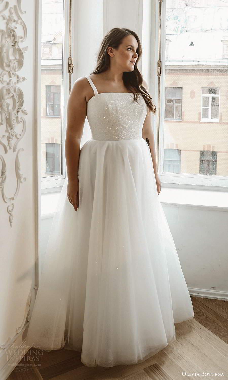olivia bottega 2021 bridal plus sleeveless straps straight across neckline clean glittery bodice a line ball gown wedding dress (2) mv