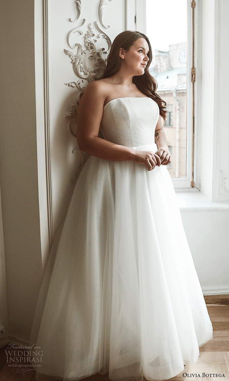 olivia bottega 2021 bridal plus strapless straight across neckline clean glittery bodice a line ball gown wedding dress (2) zv