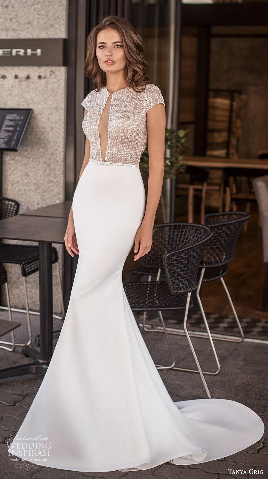 tanya grig 2021 bridal cap sleeves jewel keyhole bodice glamorous sexy fit and flare wedding dress keyhole low back medium train (2) mv