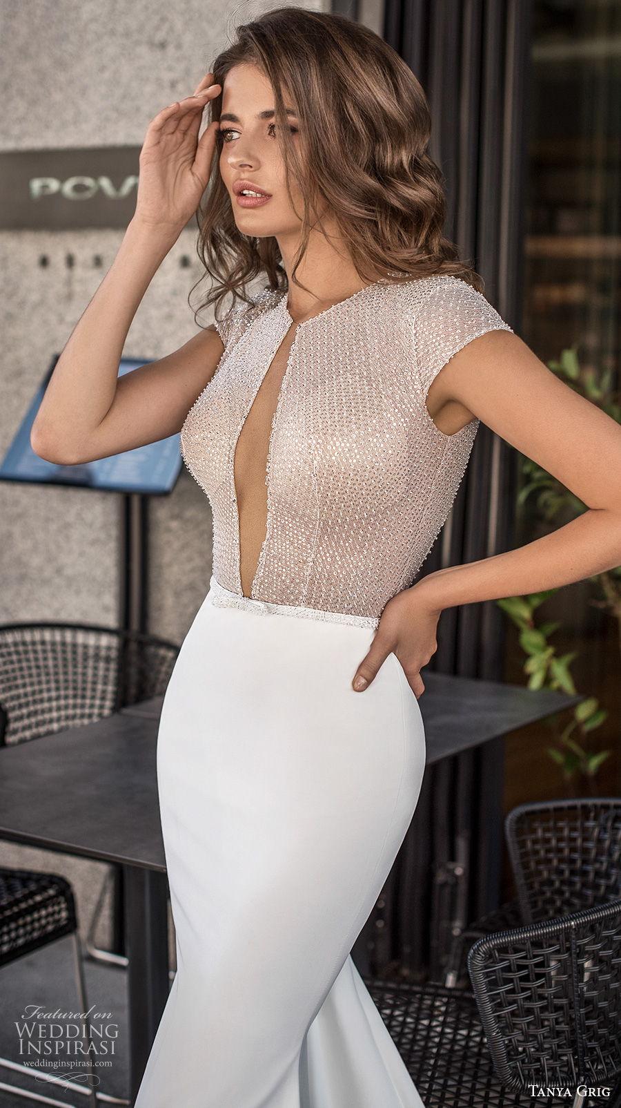 tanya grig 2021 bridal cap sleeves jewel keyhole bodice glamorous sexy fit and flare wedding dress keyhole low back medium train (2) zv