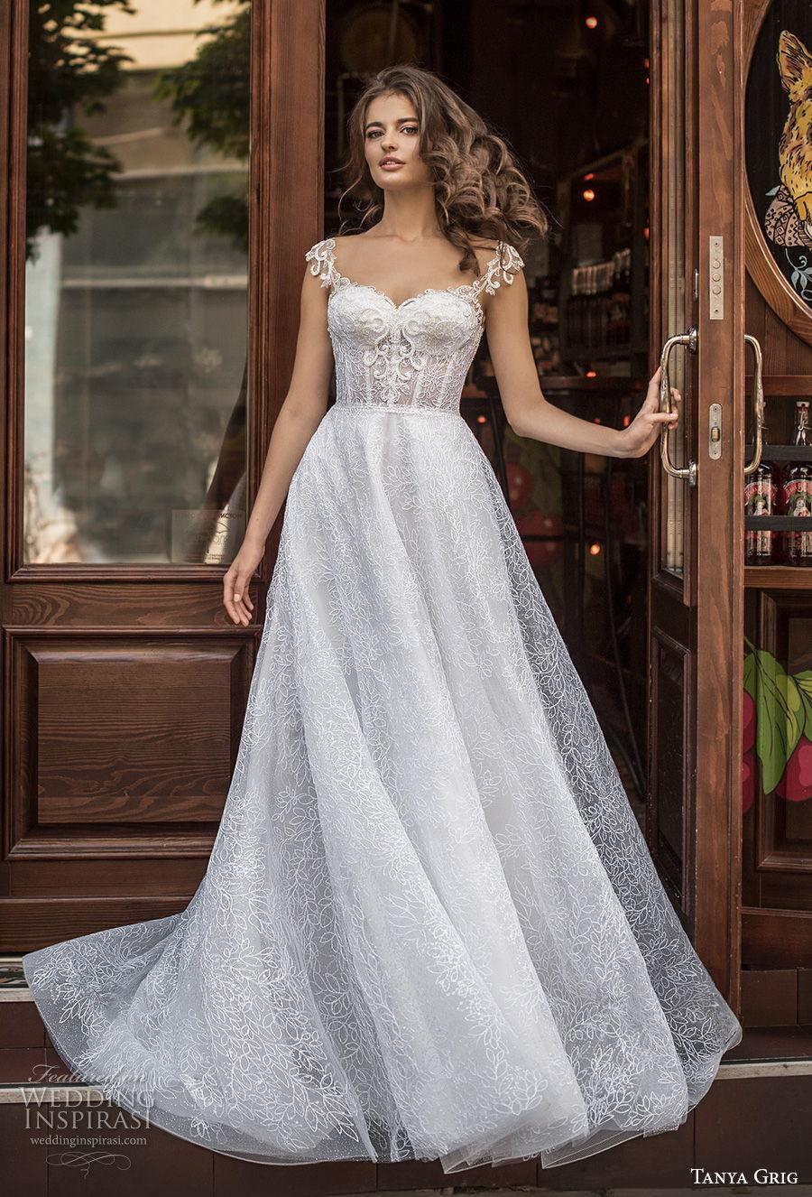 tanya grig 2021 bridal cap sleeves sweetheart neckline full embellishment romantic a  line wedding dress keyhole back chapel train (12) mv