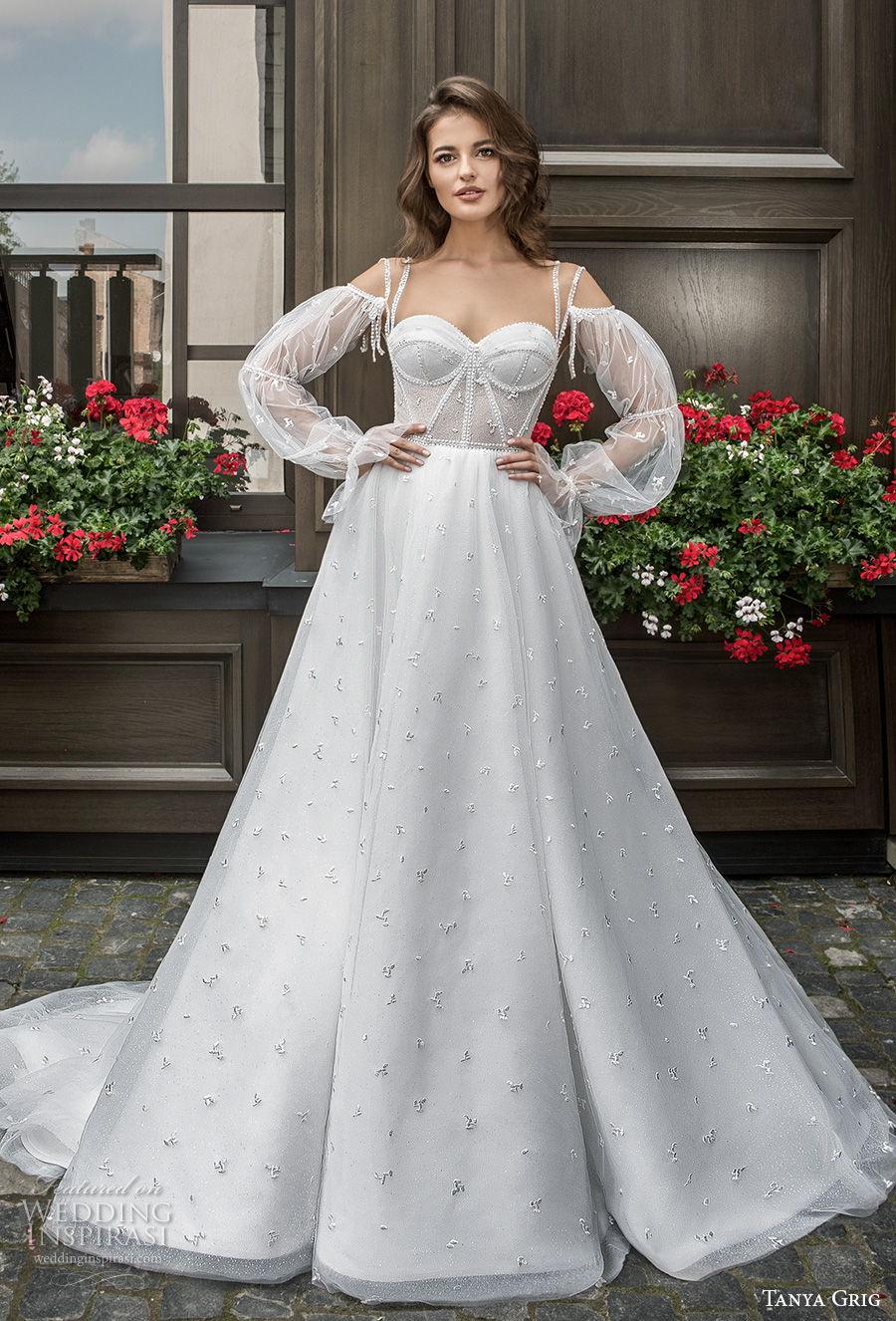 tanya grig 2021 bridal cold shoulder long bishop sleeves sweetheart neckline light embellishment bustier romantic a  line wedding dress chapel train (11) mv