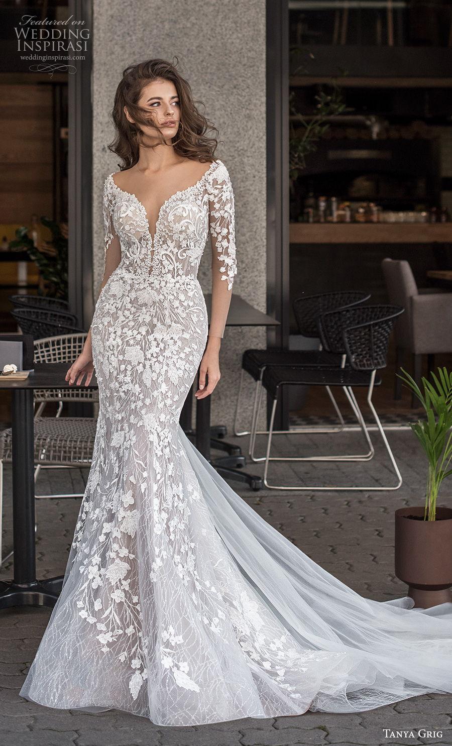 tanya grig 2021 bridal illusion half sleeves deep plunging sweetheart neckline full embellishment elegant romantic mermaid wedding dress keyhole low back chapel train (5) mv