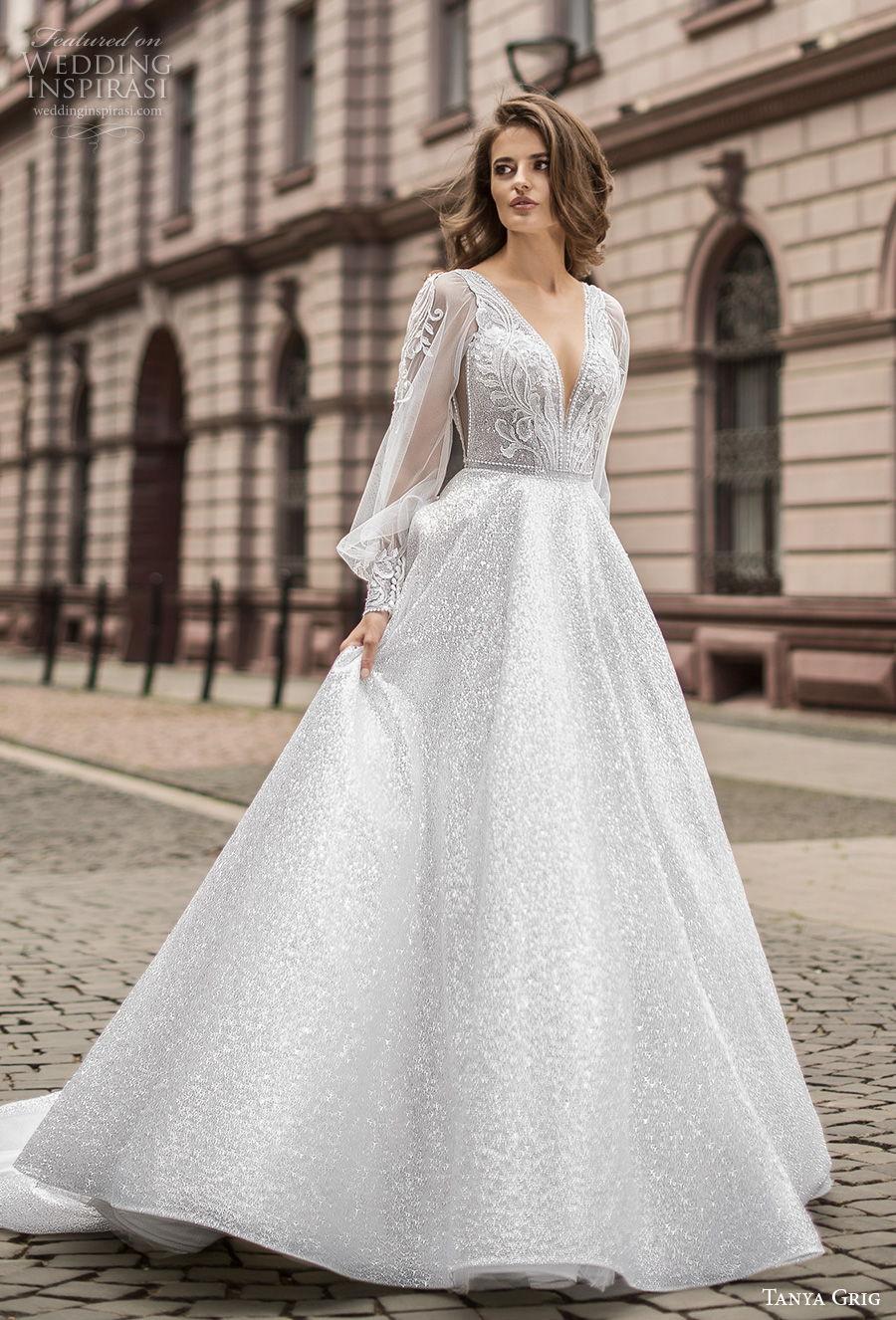 tanya grig 2021 bridal long bishop sleeves deep v neck full embellishment glamorous a  line wedding dress (14) mv