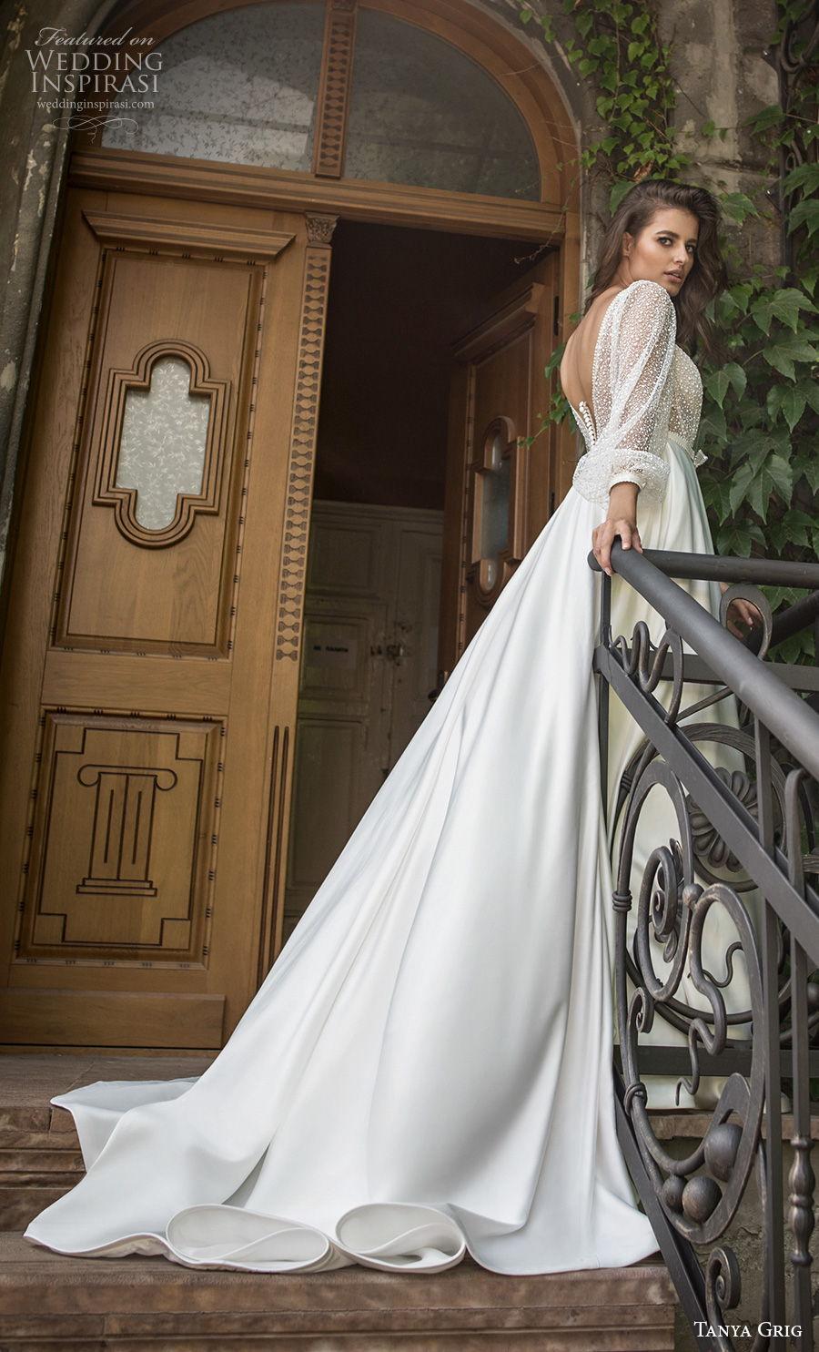 tanya grig 2021 bridal long bishop sleeves deep v neck heavily embellished bodice romantic a  line wedding dress backless v back chapel train (1) bv