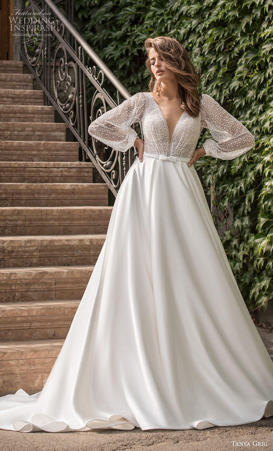 tanya grig 2021 bridal long bishop sleeves deep v neck heavily embellished bodice romantic a  line wedding dress backless v back chapel train (1) mv
